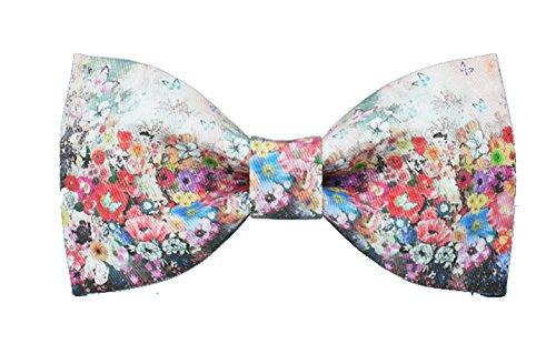 Design Tie Conception Cravate Diverses Fleurs Textile Printing Noeud Papillon£¨Rouge Roseo Ciel Bleu