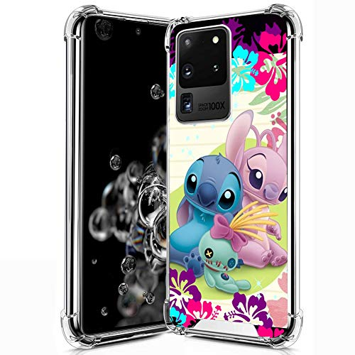 DISNEY COLLECTION Samsung Galaxy S20 Ultra 5G Clear Case, Lilo Stitch Angel Disney Soft TPU Bumper with Hard PC Back Cover Shock-Proof Anti-Scratch Protective Case for Samsung Galaxy S20 5G.