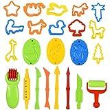 26 Stück Knetwerkzeug Knete Zubehör, Vielseitiges Teig Plastilin Werkzeuge Knete Werkzeug Kinder...