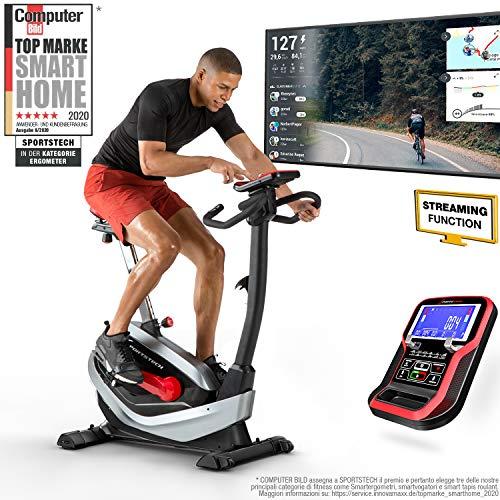 Sportstech ESX550 Premium Design 2020 Ergometer |Deutsche Qualitätsmarke | Video Events & Multiplayer APP | Magnetbremse + 21kg Schwungmasse Pulsgurt Ready| Fitness-Bike | Heimtrainer extra leise