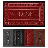 Welcomeドアマット ノンスリップ高耐久ゴム裏地 玄関ドア用 30インチ x 17インチ 泥を吸収 簡単お手入れ 玄関マット 屋外ドアマット 防水