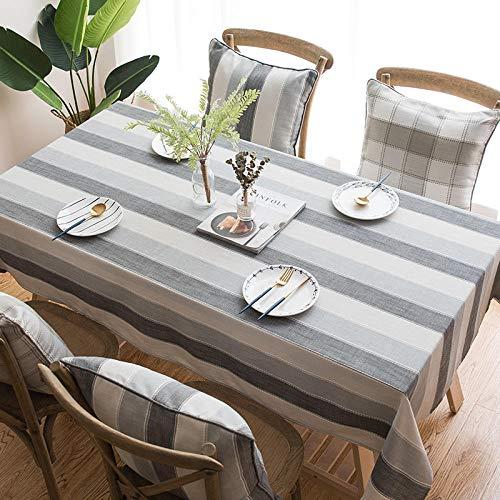 Kuingbhn Mantel para Mesa de Cocina o Salón Hojas Rectangular Lino de algodón Reutilizable Lavable Diseño de Comedor decoración del Hogar Gris 135 × 180cm