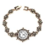 Reloj de Navidad, reloj de pulsera de cuarzo analógico con diseño de flores de diamantes de imitación para mujer, color dorado antiguo