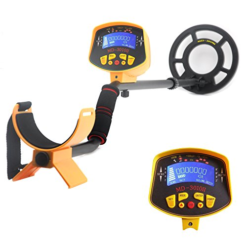 Metal Detector 'Treasure Hunter' - 8.2 Inch Water Resistant Coil. LCD Display, Detects All Metals,...