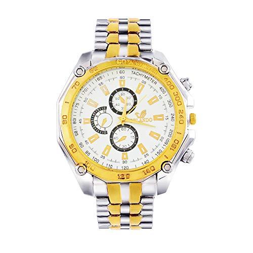 Souarts Herren Armbanduhr Analog Quarzuhr Blau Silber Gold Farbe Edelstahl Armband mit Batterie