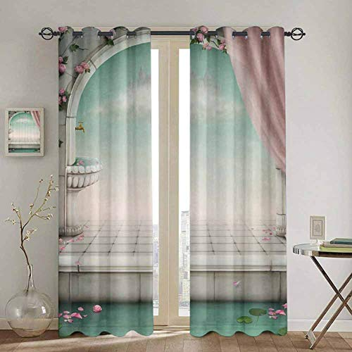 Homrkey Harem Style Authentic Oriental Blackout Curtain Marble Picture Powder Fairy Magical Design Lovers Artistic Decor Window curtain W42 x L63 Inch Pink Turquoise