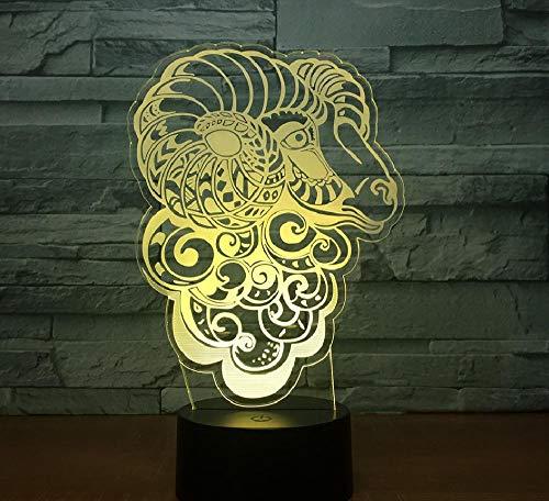 3D LED mando a distancia ópticas luces Illusion Lámpara de oveja de cabra de arte abstracto Lámpara de noche LED de 7 colores para mesa Usb táctil de niño Luz de noche para dormir para bebé