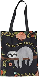 FUIBENG Fashion Canvas Tote Bags for Women Girls Ladies Lovely Animal Pattern Linen Handbag 42x34x1.5CM Cartoon Sloth