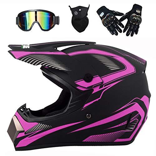 LEENP Motocross-Helm Herren Damen Motorrad Off-Road Crosshelm Set mit Brillen Maske Handschuhe, Schwarz lila Motorradhelm Downhill-Enduro-Helm-ATV-MTB-BMX Quad Motorräder Full-Face Schutz-Helm,M