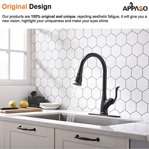 APPASO Pull Down Kitchen Faucet with Sprayer Oil Rubbed Bronze, Single Handle Antique One Hole High Arc Pull Out Spray Head Kitchen Sink Faucets Brushed Bronze