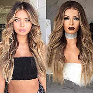 Hawkko Brown Wigs for Women Long Wavy Curly Middle Part High Density Heat Resistant Synthetic Hair Weave Full Wigs 26inches, Black to Brown