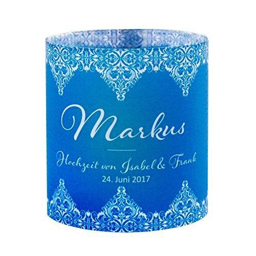 Meine Hochzeitsdeko Tischkarte Windlicht Vintage Love Blau mit Druck: Platzkärtchen, Tischkärtchen, Tischdeko für Hochzeit, Geburtstag, Taufe, Kommunion