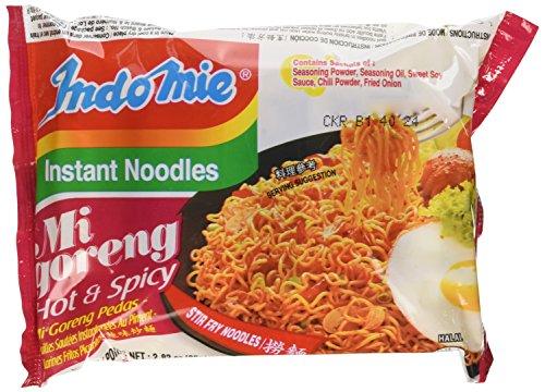 Indomie Mi Goreng Instant Stir Fry Noodles, Halal Certified, Hot & Spicy / Pedas Flavor (Pack of 30), 2.82 Ounce (Pack of 30)