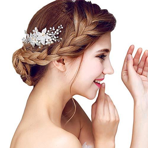 YAZILIND Elegante Tocado de Pelo Nupcial Peine Flores Cubic Zirconia Accesorios de Pelo de la Boda de Fiesta para Las Mujeres y Las niñas