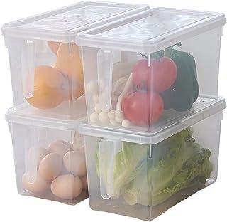 Faffooz Réfrigérateur Organizer 4 Pièces Bac Rangement Frigo et Placard, Boite Rangement Refrigérateur avec Poignée Convie...