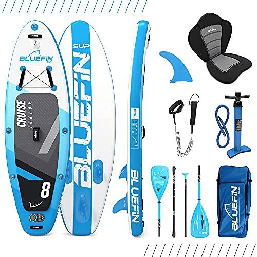 Paquete de SUP Bluefin Cruise | Tabla de Paddle Surf Hinchable | 15cm de Espesor |Remo de Fibra de Vidrio |Kit de Conversión a Kayak| 5 Años de Garantía | Varias Medidas: 10'8, 12', 15' (Junior 240cm)