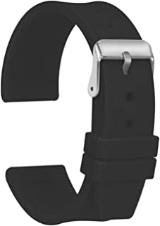 Silicone Watch Strap Replacement Waterproof Smooth Flexible - 16, 18, 20, 22, 24, 26, 28mm