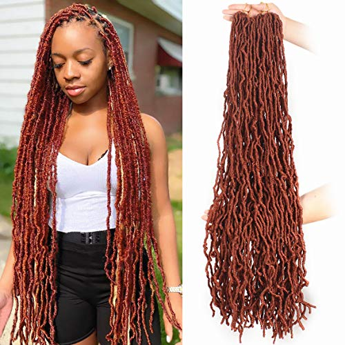 ZRQ 36 Inch New Faux Locs Crochet Hair 3 Packs Pre-looped Super Long 350 Copper Red Curly Wavy Goddess Locs Crochet Hair 21 Strands Afro Roots Synthetic Hair Extensions For Black Women 350#