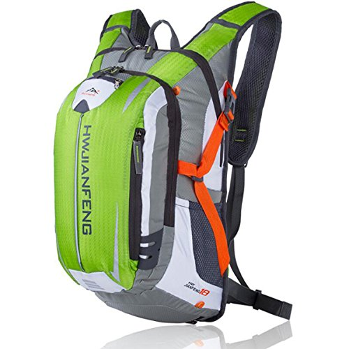 NBLL バックパック サイクリング サイクル バッグ リュックサック 自転車 かばん 登山 旅行 ハイキング スポーツ 鞄 18L 防水 ツーリング アウトドア 通勤 通学 多機能 光反射 専用レインカバー付き(グリーン)