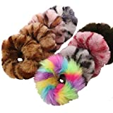 8Pcs Fuzzy Furry Artificial Rabbit Fur Faux Fur Hair Band Rope Pompom Ball Scrunchies Elastic Hair Ring Hair Tie Ponytail Holder Hair Accessories for Women Girls Gift (8 Colors)