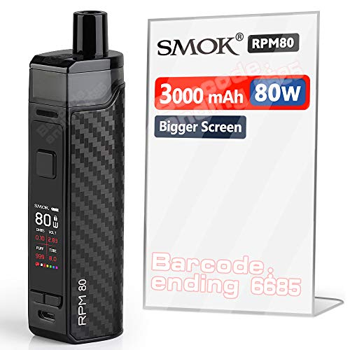 Official SMOK E Cigarettes RPM80 Kit with Built-in 3000mAh Battery, 80 Watts, 0.96' TFT Colorful Display, 2ml Pod, Mesh 0.4ohm and RGC 0.17ohm - Black Carbon Fiber (UK) No Nicotine