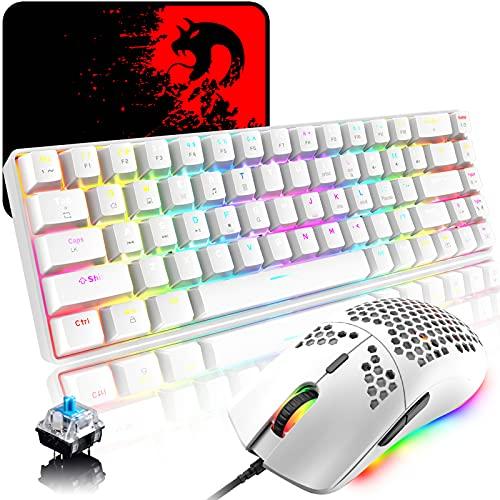 RGB Gaming Tastatur und Maus Set, 68 Tasten Blauer Schalter 60{2dd868a3871244f80270950b207781c4c38922cbfec422a94897e62771998ef3} Mini Chroma Mechanische Tastatur, 6400DPI Leichte Optische Waben Maus, USB-Kabel, Kompatibel mit Windows Mac PS4 Xbox, Weiß