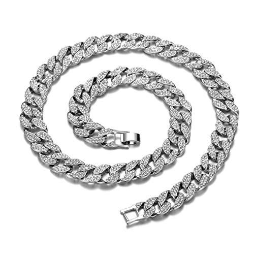 mengnuo Miami Curb - Collar de cadena cubana de 16 mm, 76,2 cm, color dorado IcedOut pavimentado con diamantes de imitación CZ Bling Rapero Collares para Hombres Hip Hop Joyería