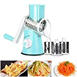 Queso giratorio manual 1 set de verduras, mandolina, cortador de frutas, rallador de queso, rallador giratorio con 3 cuchillos giratorios de acero inoxidable (azul)