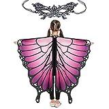 Butterfly Wings for Girls Kids Halloween Costume Fairy Shawl Festival Rave Dress (Kids(purple Pink))