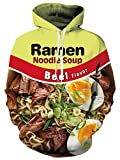 Novelty Funny Hoodies Digital Print Realistic Ramen Beef Noodle Egg Suop Graphic Sweatshirts Long Sleeve Hooded Pullover Jackets Tops for Couple Female Male Casual Holiday Vacation Daily Wear