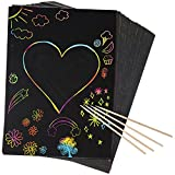 Peachy Keen Crafts 50 Piece Rainbow Scratch Paper - 4 Wooden Styluses Included - Create Rainbow Scratch Art...