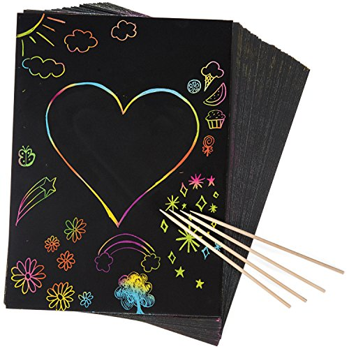 Peachy Keen Crafts Large Sheet 8x10 Size - 50 Piece Rainbow Scratch Paper - 4 Wooden Styluses...
