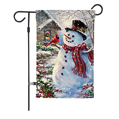 planuuik 12x18 Inch Kerstmis Thuis Tuin Vlag Leuke Cartoon Sneeuwman met Sjaal Gedrukt Tweezijdige Xmas Vintage Yard Party Decoraties