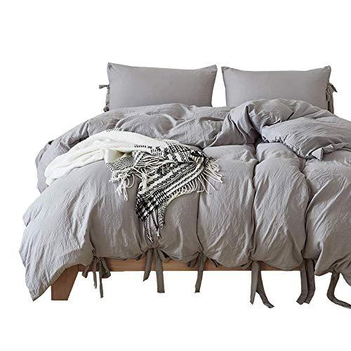 Onlylover Bettwäsche-Set, ägyptische Qualität, steinfarbig, Mikrofaser, 3-teiliges Set, weicher Bettbezug, hypoallergen, solide Bettwäsche, Light Gery, King Size