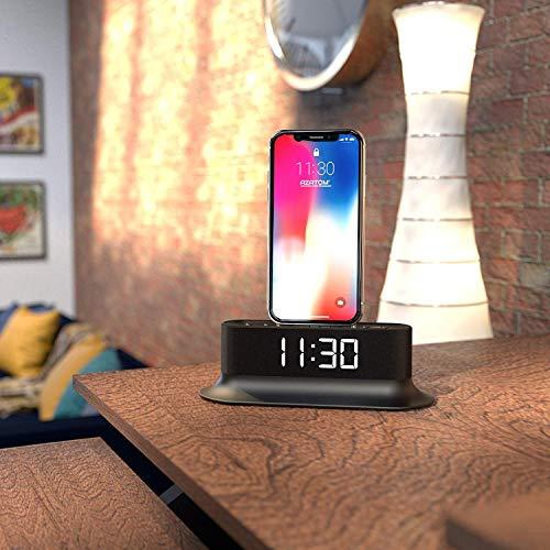 AZATOM Chronos 2 Lightning Dock Speaker for iPhone Xs Max, Xs, Xr, X, 8, 8 plus, 7plus, 7, 6s, 6, 5s, 5, 5c, SE, iPod Touch Nano - FM Radio Dual Alarm Clock - Docking station (Black) (Renewed)