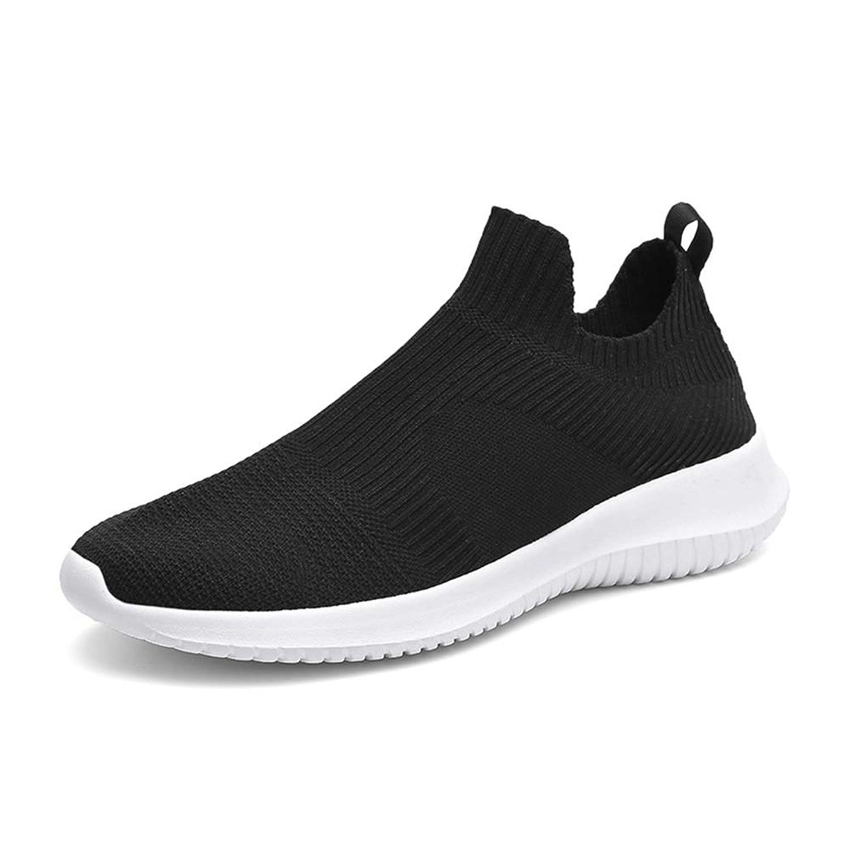 メンズシューズ 男性のための運動靴Flyknitスポーツシューズスリップオンスタイルメッシュ布素材通気性の丸いつま先 通気性 (Color : 黒、白, サイズ : 25 CM)
