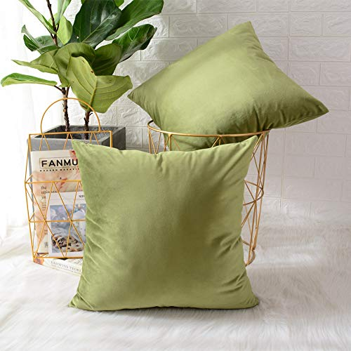 MERNETTE New Year/Christmas Decorations Velvet Soft Decorative Square Throw Pillow Cover Cushion Covers Pillowcase, Home Decor for Party/Xmas 18x18 Inch/45x45 cm, Chrome Green, 2 Pieces