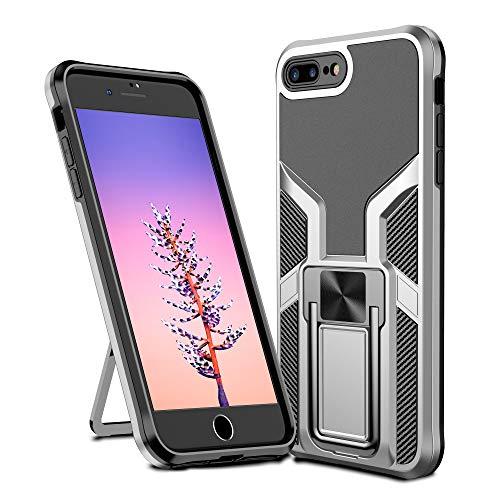 OUJD Funda para iPhone 7 Plus/iPhone 8 Plus, Carcasa Armadura Híbrida Robusta de Doble Capa, 360 Grados Soporte Magnético, Impact Resistant Anti-Choques - Plata