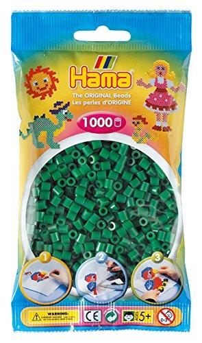 Hama Perlen 207-10 Bügelperlen Beutel mit ca. 1.000 Midi Bastelperlen mit Durchmesser 5 mm in grün, kreativer Bastelspaß für Groß und Klein
