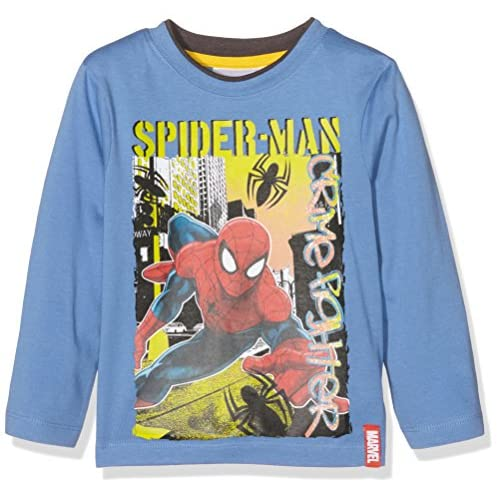 Marvel Crime Fighter Spiderman T-Shirt, Blu (Pervenche), 8 Anni Bambino
