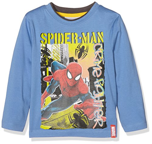 Marvel Crime Fighter Spiderman Camiseta, Azul (Pervenche), 4 Años para Niño