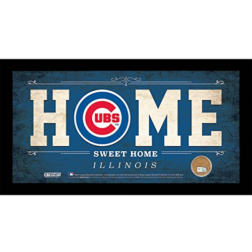 Steiner Sports MLB Chicago Cubs Home Sweet Home Sign with Game-Used Dirt from Chicago Cubs, 6 x 12, Blue