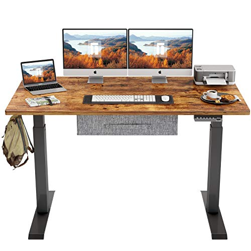 FEZIBO Electric Height Adjustable Standing Desk with Drawer, 63 x 24 Inches Splice Board, Black Frame/Rustic Brown Top