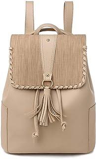 PU Women's Backpack Travel School Shoulder Bag Daypack (Color : Apricot)