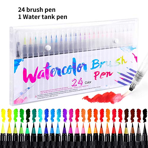 Watercolor Brush Pens 24 Colors Soft Painting Pens Water-Based Ink Pen Set with Flexible Fiber Brush Tips For Adult Kids Drawing Coloring Calligraphy Artists and Beginner Painters Christmas Gifts