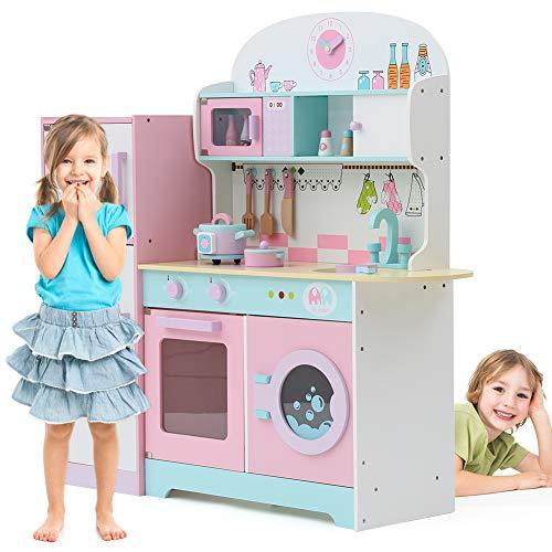 Tribesigns Kids Play Kitchen with Fridge, Large Children's Role Play Pretend Wooden Toy Kitchen Set (Pink)