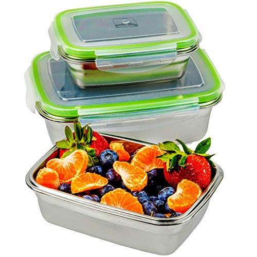 JaceBox Stainless Steel Lunch Containers - LunchBox Container Set LeakProof Light Easy Stainless Steel Food Containers Storage Set of 3 Stackable Bento Box Eco-Friendly Keto Lifestyle BPA FREE