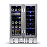 NewAir 18 Bottle 60 Can French Door Wine And Beverage Cooler - White Red Wine Countertop Fridge -...