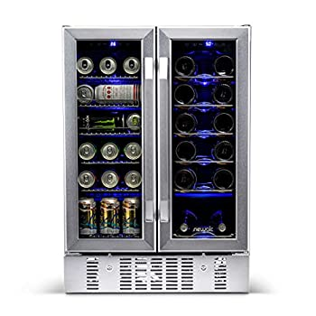 NewAir 18 Bottle 60 Can French Door Wine And Beverage Cooler - White Red Wine Countertop Fridge - Stainless Steel With Digital Temperature Controls and Key lock