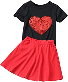 e228976f50128 Neubula Ensemble Bébé Fille de 2 Pièces Mère Et Fille Sequin T-Shirt en  Forme